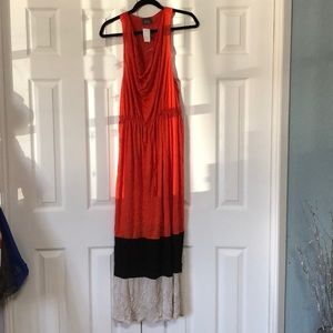 Crotchet racerback colorblock maxi dress L NWT